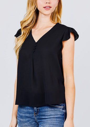 Ruffle Sleeve V-Neck Black Blouse