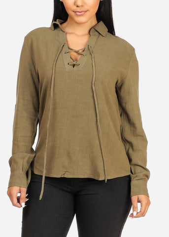 Stylish Roll Up Olive Top