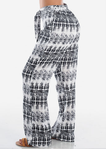 Women's Junior Ladies Casual Trendy Beach Vacation Wide Legged Black And White Printed Lightweight Wide Legged Palazzo Pants