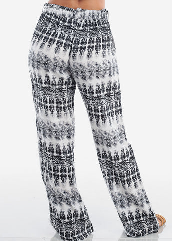 Black & White Printed Wide Leg Pants