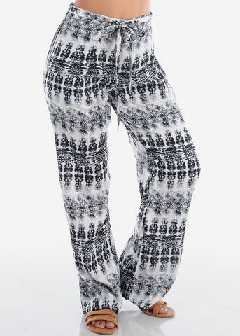 cheap Black & White Printed Wide Leg Pants