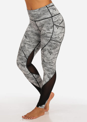 Image of Activewear White And Black Print Sheer Mesh High Rise Leggings