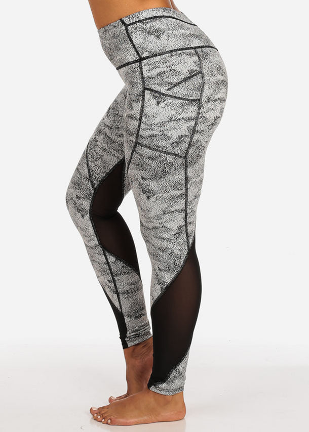 Activewear White And Black Print Sheer Mesh High Rise Leggings