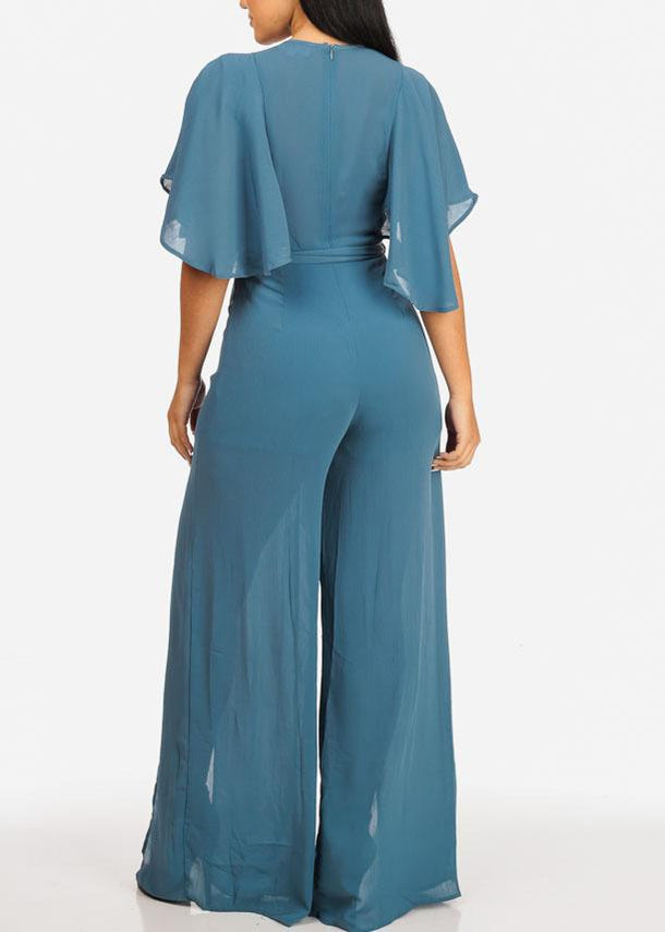 Belted Blue Night Out Jumpsuit