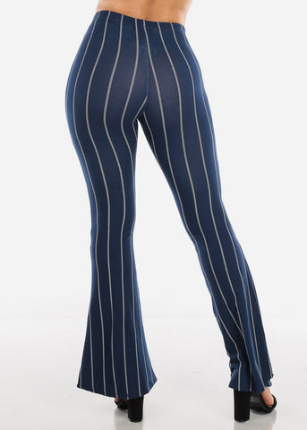 Image of Striped Navy Bell Bottom Pants