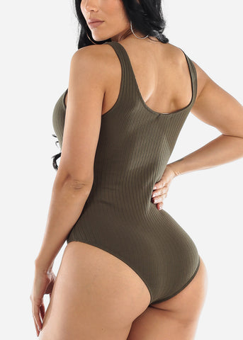Half Button Up Olive Ribbed Bodysuit
