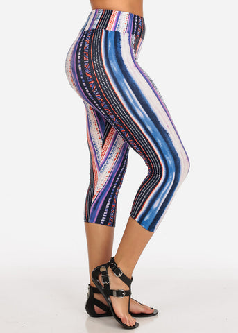 Women's Junior Ladies Cute Comfortable Trendy Pull On High Rise Stripe Multicolor Capri Leggings