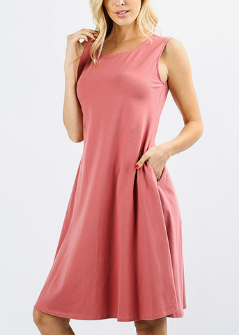 Sleeveless Rose Classic A-Line Dress