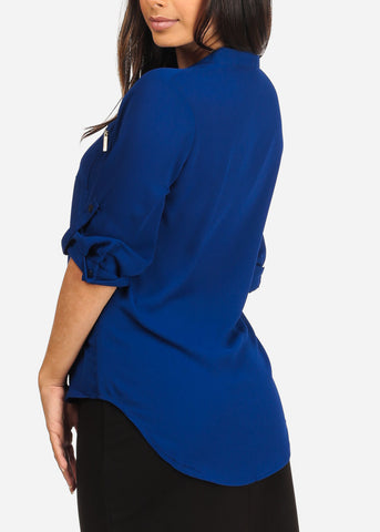 Image of Women's Junior Ladies Stylish Lightweight Solid Blue 3/4 Roll Up Sleeve Dressy Lightweight Blouse Tunic Top