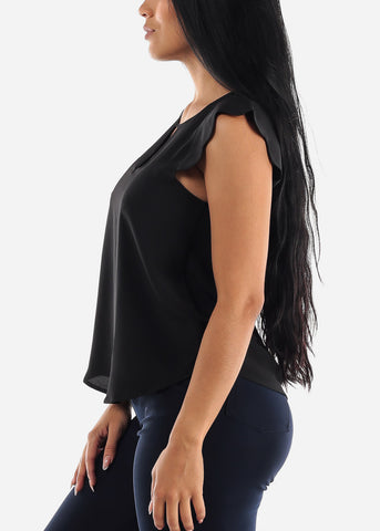 Image of Cap Sleeve Black Dressy Blouse