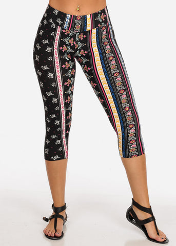 Women's Junior Ladies Cute Comfortable Trendy Pull On High Rise Black Floral Multi Print Capri Leggings