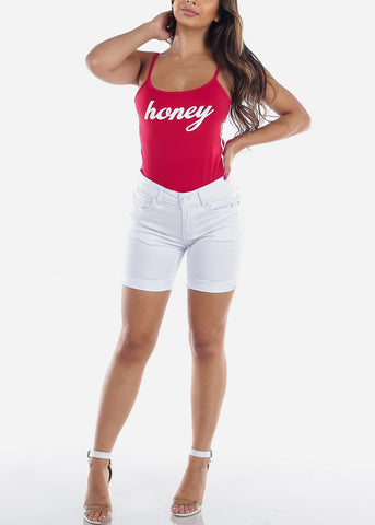Image of Casual Sexy Famous Quotes Honey Sleeveless Trendy 2019 Stretchy Sporty Look Red Bodysuit