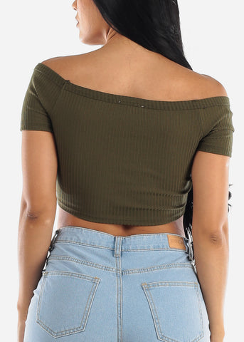 Off Shoulder Olive Crop Top