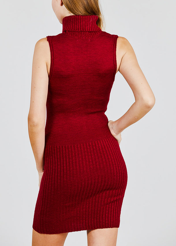 Burgundy Turtle Neck Sleeveless Sweater Dress