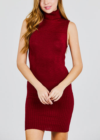 Image of Burgundy Turtle Neck Sleeveless Sweater Dress