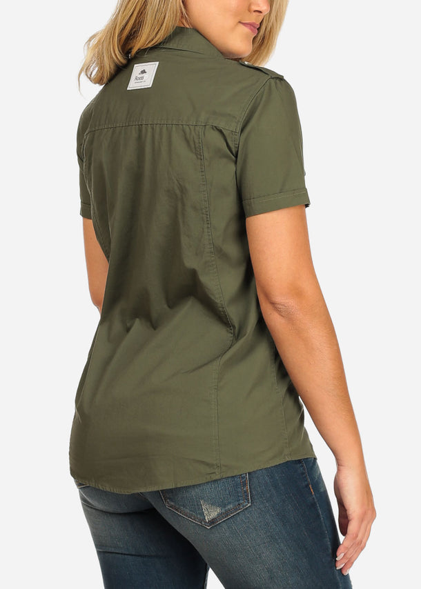 Short Sleeve Button Up Olive Shirt