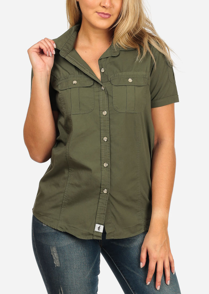 Women's Junior Ladies Casual Formal Business Career Wear Short Sleeve Button Up Olive Shirt