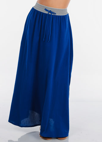 Stylish Royal Blue Maxi Skirt