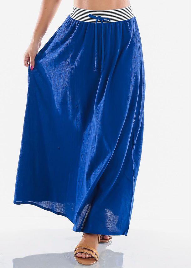 Cheap Stylish Royal Blue Maxi Skirt