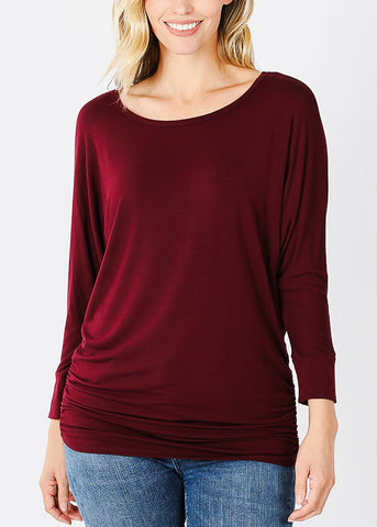 Boat Neck Shirred Burgundy Tunic Top