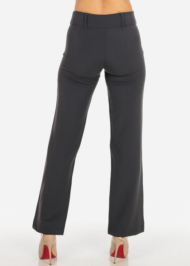 Grey 2-Button Straight Leg Pants