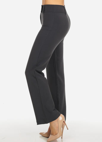 Image of Grey 2-Button Straight Leg Pants