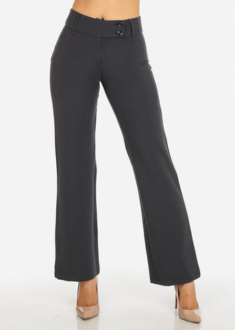 Image of Gray High Waisted  Straight Leg Dress Pants