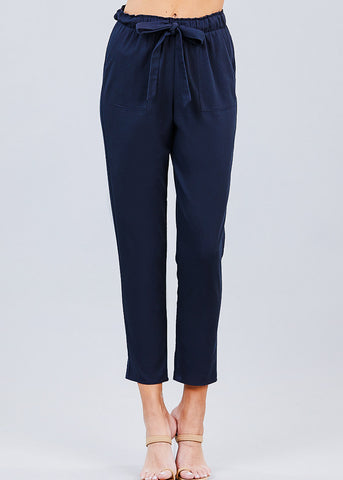 Image of Navy Drawstring Linen Pants
