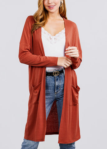 Brick Two Pockets Maxi Cardigan
