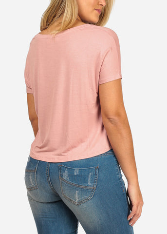 Women's Junior Ladies Casual Stretchy Short Sleeve Rose Knot Hem Front Basic Tee Shirt Top