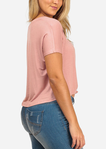 Image of Women's Junior Ladies Casual Stretchy Short Sleeve Rose Knot Hem Front Basic Tee Shirt Top