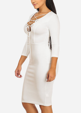 Elegant White Lace-Up Neckline Dress