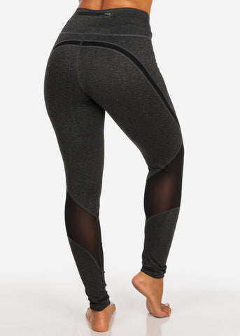 Image of Activewear Dark Grey And Black Sheer Mesh High Rise Leggings W Back Waist Line Zipper Pocket