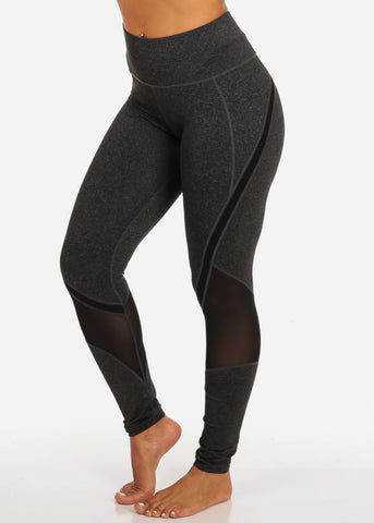 Activewear Dark Grey And Black Sheer Mesh High Rise Leggings W Back Waist Line Zipper Pocket