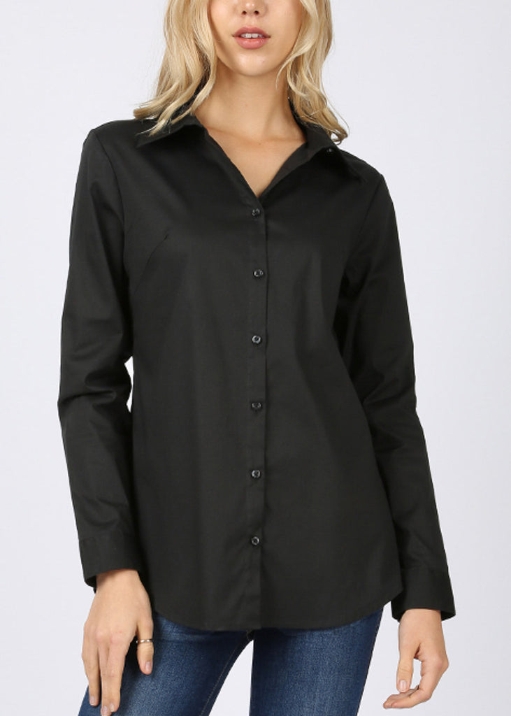 Missy Fit Button Up Black Shirt