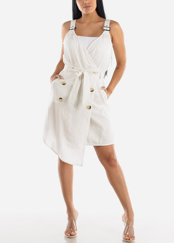 Sleeveless Off White Overall Dress