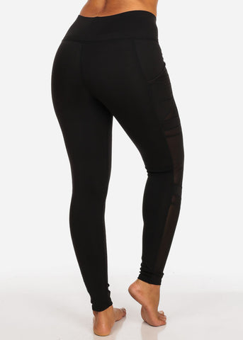 Image of Activewear Side Mesh Sheer Detail High Rise Black Leggings W Side Pockets