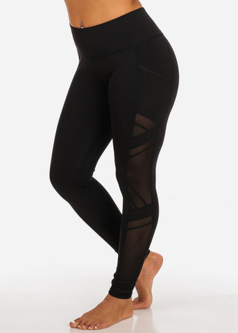Activewear Side Mesh Sheer Detail High Rise Black Leggings W Side Pockets