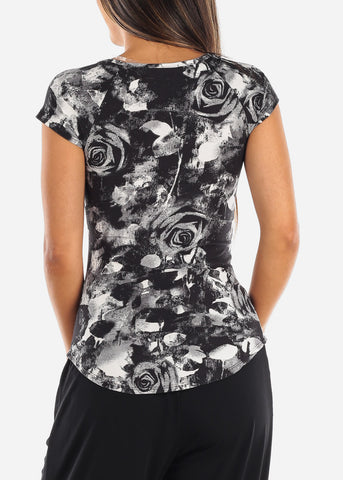 Women's Junior Ladies Casual Multi Strap Black Floral Print Casual Top For Women Ladies Junior On Sale