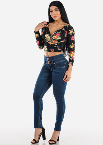Image of Black Floral Wrap Front Crop Top