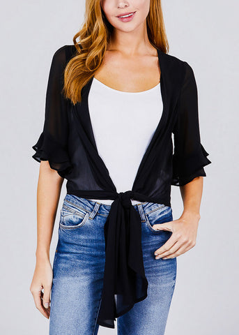 Image of Black Knot Tie Front Woven Cardigan