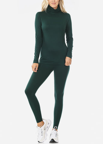 Dark Green Mock Neck Top & Leggings (2 PCE SET)