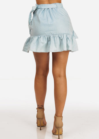Image of Mini Light Blue Side Tie Skirt