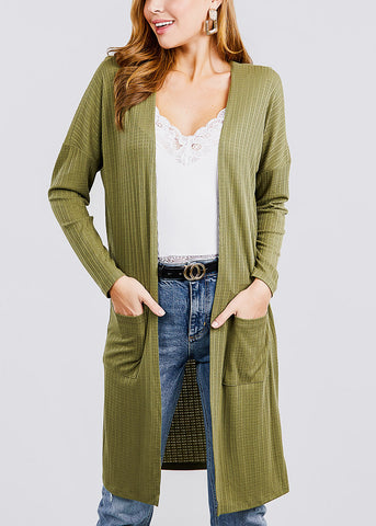 Olive Two Pockets Maxi Cardigan