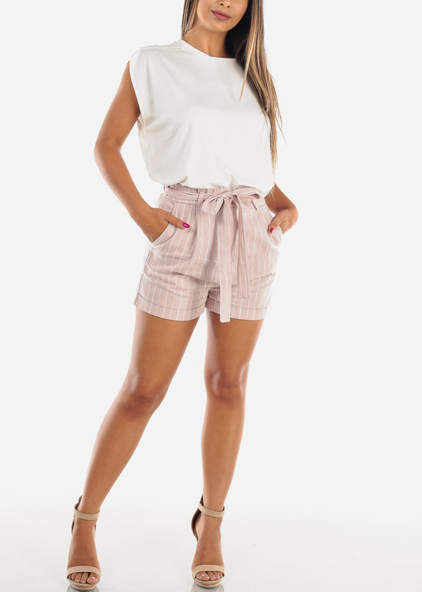 High Rise Mauve Stripe Shorts