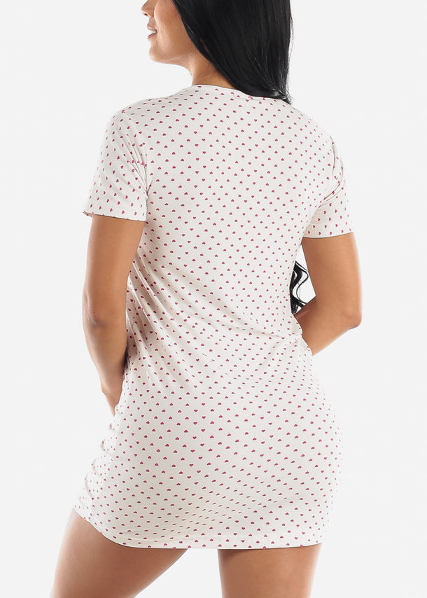 White Printed Sleep Dress