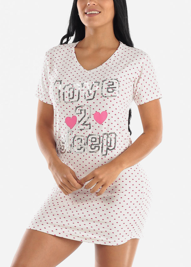 "White Printed Sleep Dress ""Love 2 Nap"""