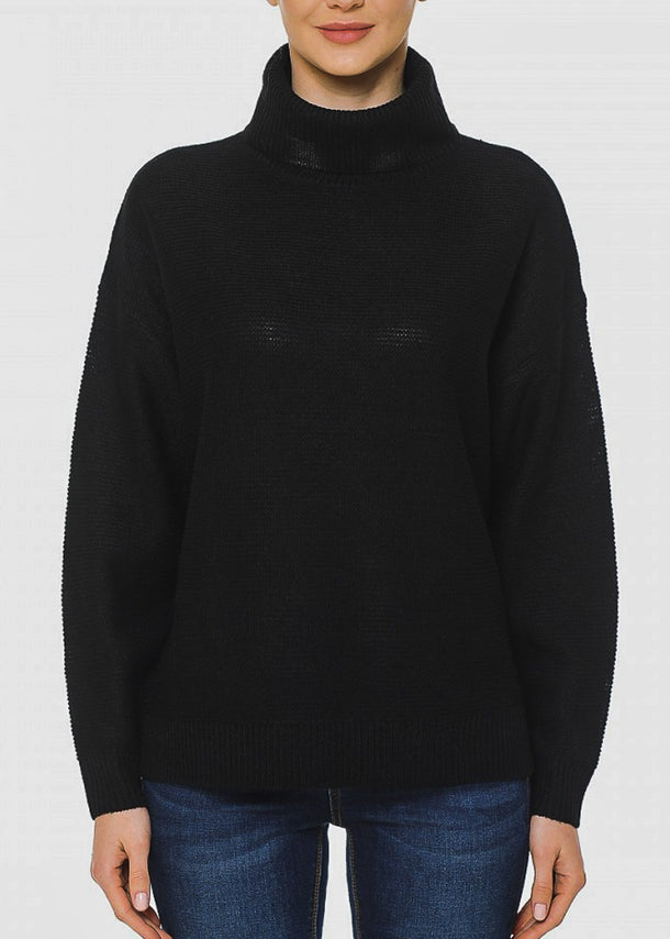Turtle Neck Oversized Black Sweater