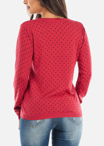 Image of Red Polka Dot Sweater  BFT10669RED