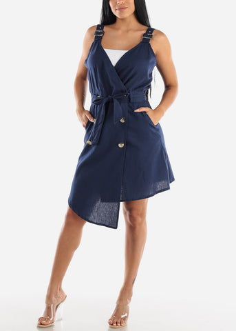 Image of Sleeveless Navy Overall Dress